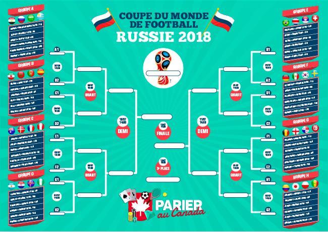 Calendrier Coupe du Monde 2018 parier au canada